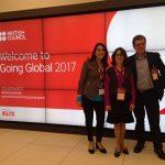 residente da Fapeg e do Confap, Maria Zaira Turchi (ao centro) e representantes do British Council Brasil, Martin Dowle e a Diana Daste, durante a abertura do Going Global 2017