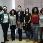 Bolsistas da Fapeg contempladas no edital para grupos sub-representados na ciência e a gerente do Fundo Newton, Camila Almeida.