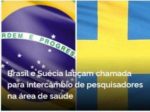Imagem das bandeiras Brasil e Suécia